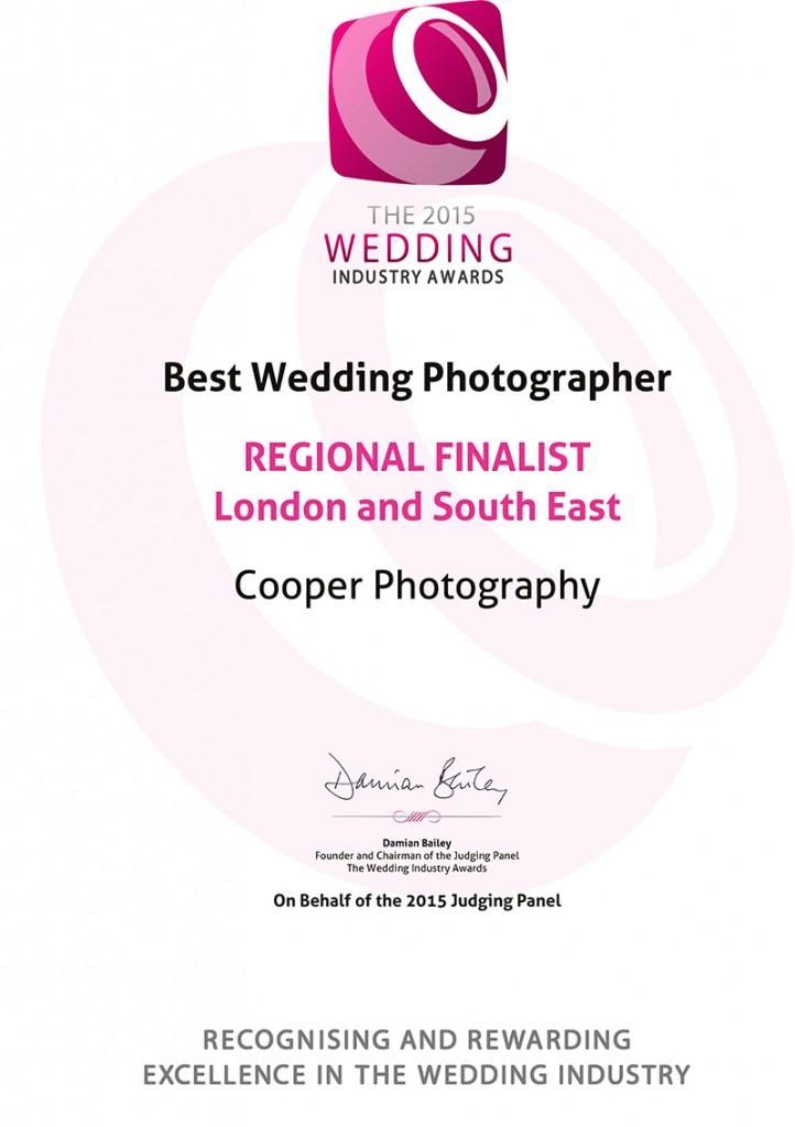 The 2015 Wedding Industry Awards REGIONAL FINALISTLondon a