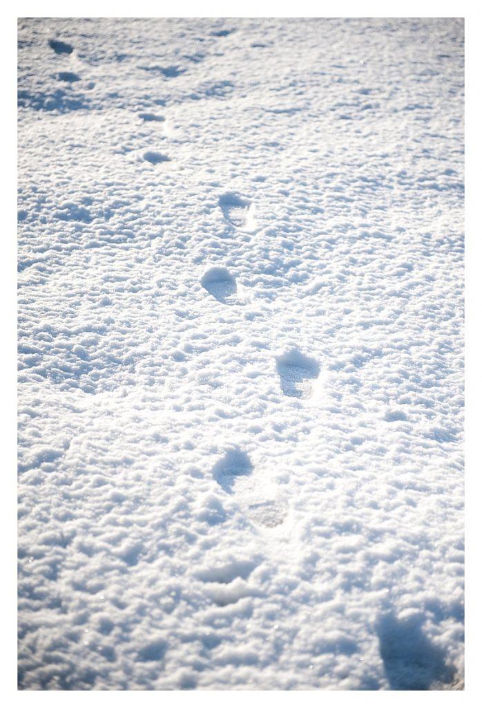 things we love about winter photo of footprints in freshly fallen snow