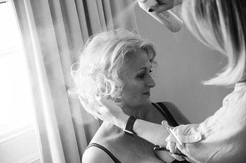 Older Bride Getting ready for her wedding