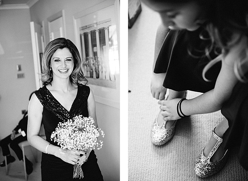 Bridesmaid in black and white