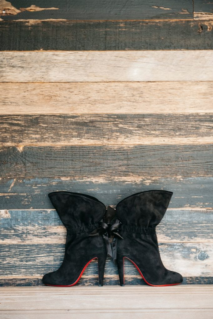 black Louboutins wedding boots, Cooper Photography