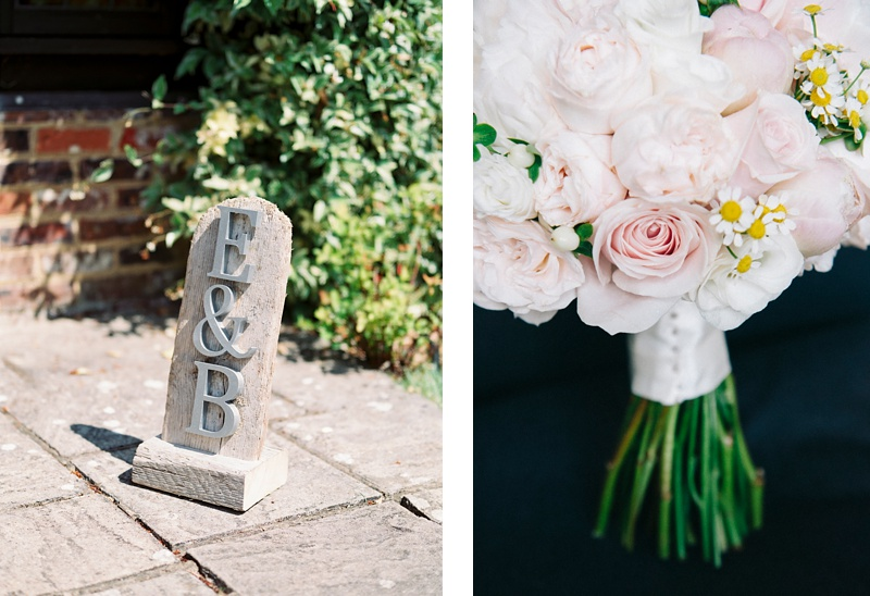Lainston house wedding initials and buoquet -Cooper Photography