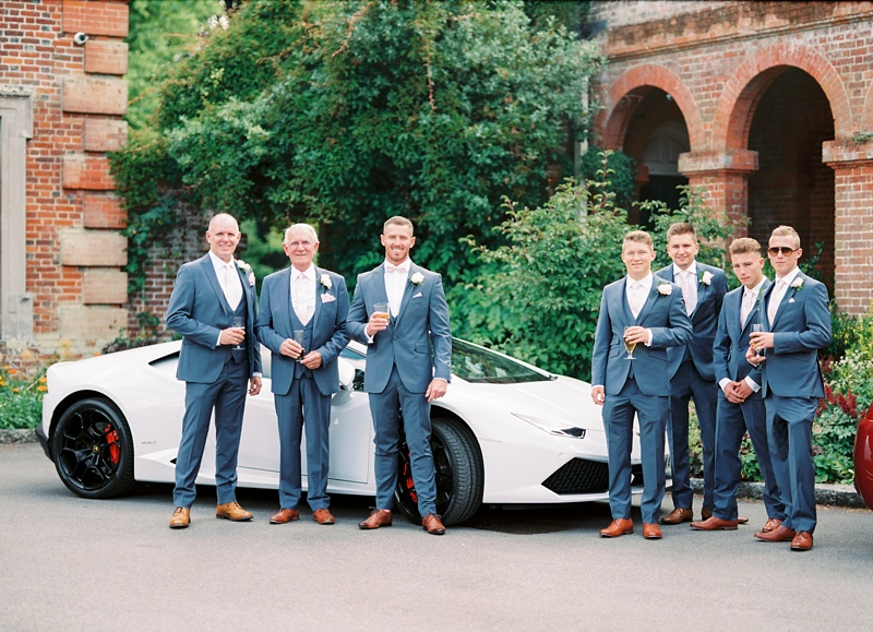 Groomsmen and Lamborghini at Lainston house