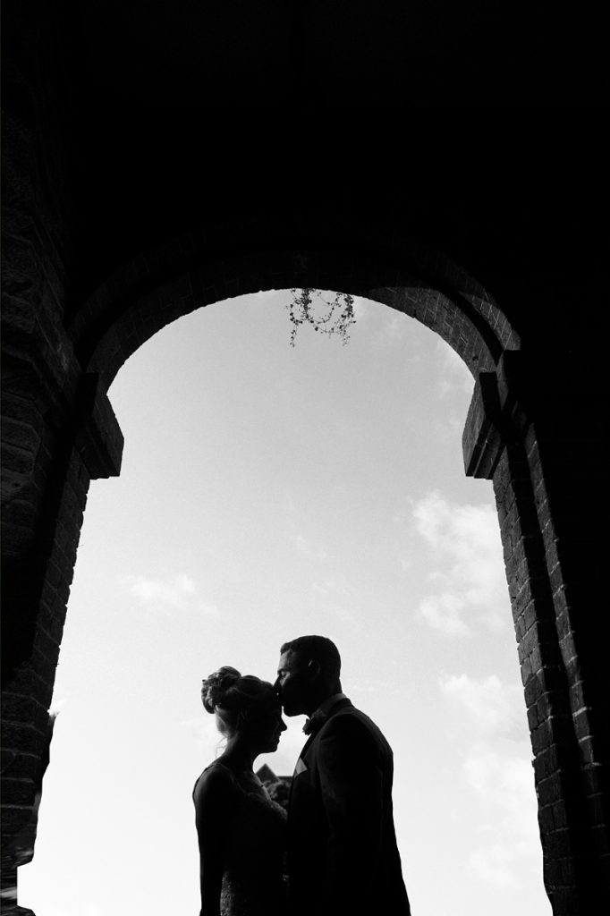 Bride & Groom silouhette Lainston house wedding