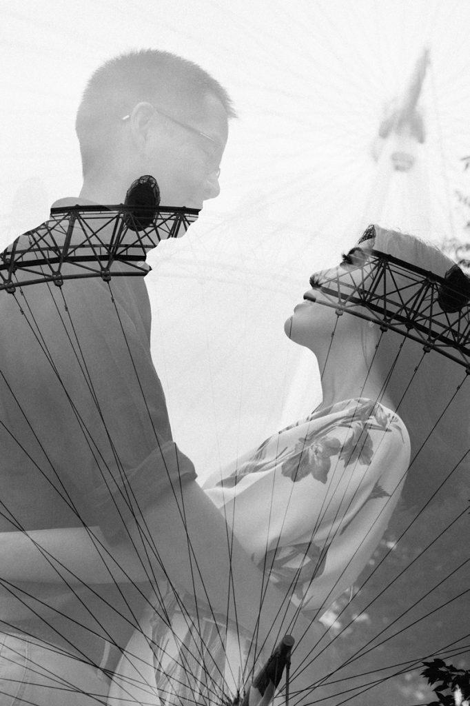 Double exposure of couple and London Eye